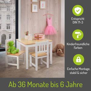 BOMI® Kindersitzgruppe Amy aus Kiefer Massiv Holz für Kleinkinder, Mädchen und Jungen Natur Weiß