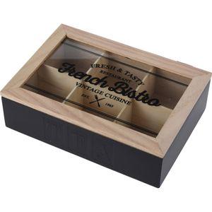 Aufbewahrungsbox 'French Bistro' mit Sichtfenster 24x17xH7cm Natur/Schwarz