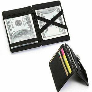 Magische Brieftasche Mini Geldbörse Portemonnaie Leder Magic Wallet Slim Schwarz