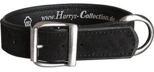 Hundehalsband aus feinstem Leder in vielen Farben von 28-48 cm, Farben:schwarz, Halsbandgöße:43