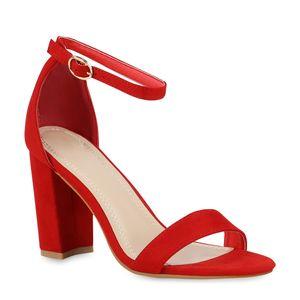 Mytrendshoe Damen Sandaletten Riemchensandaletten High Heels Abendschuhe 821887, Farbe: Rot, Größe: 39