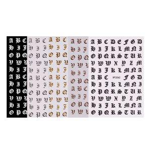 5 Blatt Buchstabe Form Nagel Sticker Selbstklebende Nagel Aufkleber Papier Nagelaufkleber Nagelfolie