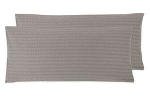 Kissenbezug grau, 40x80 cm, Baumwolle (Seersucker), 2er Set