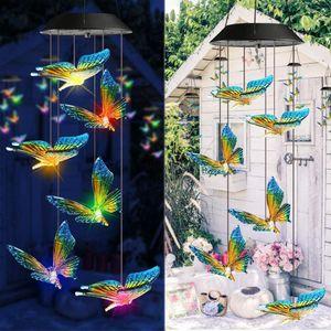 LED Solar Windspiel Farbwechsel Lichterketten Wasserdichte Weihnachten Outdoor Garten Dekoration Lichter, Schmetterling