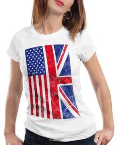 style3 USA Amerika Jack Union Damen T-Shirt Flagge Flag, Farbe:Weiß, Größe:M