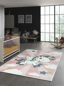 Kinderteppich mit Einhorn Regenbogen in Rosa Creme Größe - 80 cm Rund