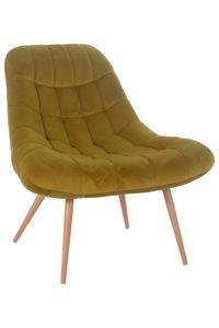 SalesFever Loungesessel mit XXL-Sitzfläche | Bezug Stoff in Samt-Optik | Gestell Metall in Holzoptik | üppige Steppung | B 76 x T 87 x H 86 cm | gelb