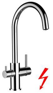 NIEDERDRUCK 3 wege Küchenarmatur chrom Wasserhahn für Filtersysteme mit separatem Filterwasser Kanal - schwenkbarem Auslauf