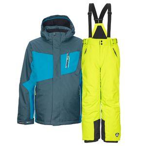 Kinderskianzug Skijacke Layto Jr. dunkelpetrol + Skihose Gauror Jr. limette 116 - 116   dunkelpetrol/limette