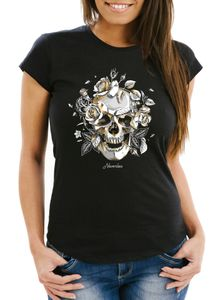 Damen T-Shirt Totenkopf Rosen Skull Roses Schädel Slim Fit Neverless® schwarz XL