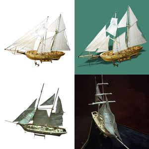 2 pcs 1:30 DIY Holz 3D Schiff Segelboot Modellbausatz Kinder Basteln Spielzeug