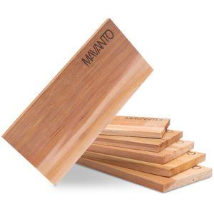 MAVANTO® XXL Grillbretter Räucherbretter - Zedernholz Grillbrett zum Grillen - EXTRA DICK (30x14x1,5cm) langlebig & wiederverwendbar (6er Set)