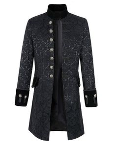 Herren Retro Steampunk Mantel Gothic Mantel Gehrock Viktorianisch Smokinghemd Schwarz Größe XL