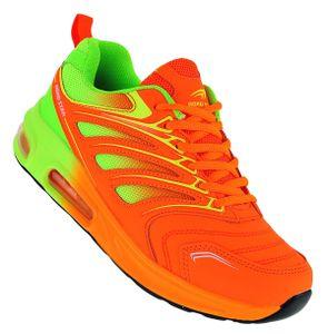 Neon Luftpolster Turnschuhe Schuhe Sneaker Boots Sportschuhe Uni 095, Schuhgröße:39, Farbe:Orange/Grün