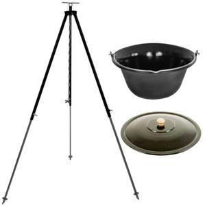 Grillplanet® Gulaschkessel 10 Liter mit Dreibein 130cm und Deckel