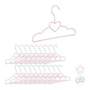 relaxdays 20 x Kinderkleiderbügel Herz Drahtbügel rosa Kinderbügel Babybügel Hemdenbügel