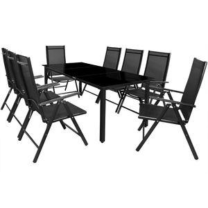 Casaria 8+1 Sitzgruppe Alu Bern Klappstühle Gartentisch 190x90cm Sitzgarnitur Gartenmöbel Set, Farbe:anthrazit