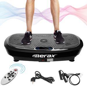 Merax 3D Vibrationsplatte + Bluetooth Musik, Riesige Fläche, 2 Kraftvolle Motoren + Einmaliges Design + Trainingsbänder + Fernbedienung, belastbar bis 150kg, Schwarz