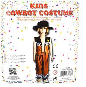 Cowboy Kostüm Jungen Kinder Weste, Hut und Hose 104-140cm Western Fasching, Größe:S