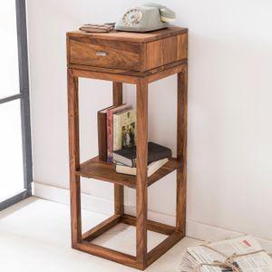 WOHNLING Beistelltisch MUMBAI Massivholz Sheesham Anstelltisch Telefontisch mit Schublade 35 x 35 x 90 cm