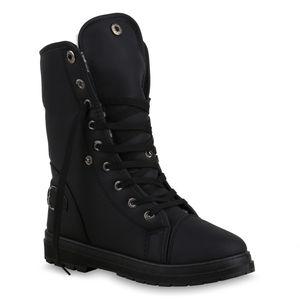 Mytrendshoe Warm Gefütterte Damen Stiefeletten Worker Boots Outdoor Schuhe 813745, Farbe: Schwarz, Größe: 37