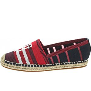 Tommy Hilfiger Knitted Espadrille Damen Slipper in Rot, Größe 38