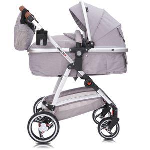 Lalalux Babyboomer Kombikinderwagen Komplettset - Hellgrau/Leder, klappbar, sportlich, universell, doppelte Federung, inkl. Tasche, Regenschutz
