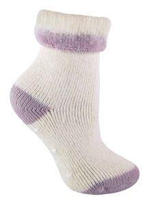 Sock Snob - Damen Creme Winter Alpaka Wolle Anti Rutsch Kuschelsocken mit Sternen ABS