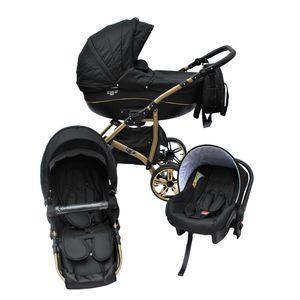 LUXUS Kombi Kinderwagen CLEO 3 in 1 Komplettset mit Luftreifen (Niederquerschnittsreifen)  - schwarz/gold