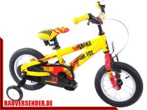 12 Zoll leichtes Aluminium Kinderrad MTB Fahrrad LEADER FOX Snake Boy gelb NEU