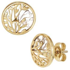 JOBO Ohrstecker 585 Gold Gelbgold Weißgold kombiniert 2 Diamanten Brillanten Ohrringe
