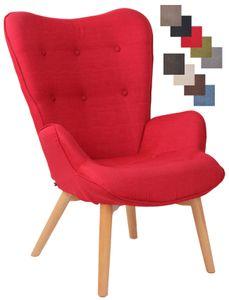 CLP Lounger Durham Stoff mit Buchenholz Gestell, Farbe:rot