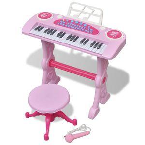dereoir Kinder Keyboard Spielzeug Piano mit Hocker/Mikrofon 37 Tasten Rosa