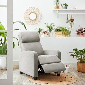 VASAGLE Relaxsessel Fernsehsesel mit gepolstertem Sitz丨verstellbare Fußstütze Rückenlehne Couchsessel Liegesessel modern丨grau LAC100G01