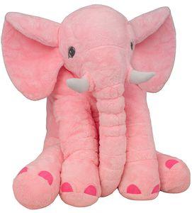 BRUBAKER XXL Elefant Kuscheltier 45 cm Plüschtier Geschenk für Baby Kinder Kissen - Rosa
