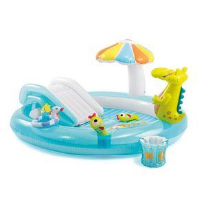 Intex Kinder Planschbecken mit Wasserrutsche, Sonnenschirm, Schwimmring , zwei Fischen, Eimer und Krokodil-Figur, 203 x 173 x 89 cm,