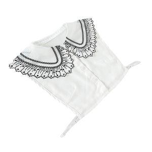 Damen Abnehmbarer Blusenkragen, Baumwollespitze Einsatz Kragen, Schwarz Spitze