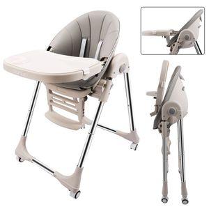 OUNUO Baby Hochstuhl Vertehllbar und Klappbar Kinderhochstuhl mitwachsend Kindersitz Kinderstuhl mit Sicherheitsgurt 6 Monaten bis 6 Jahre Kunstleder Kissen Grau