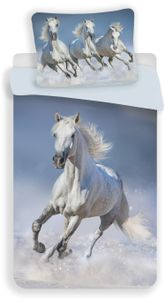 Pferde Weiß Kinder Bettwäsche Baumwolle - Set 135 140x200