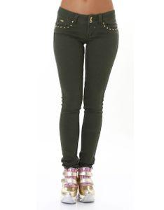 Coloured Röhren Skinny Hüft Jeans mit Deko Nieten und Push up-Effekt, Farbe: Khaki, Größe: 36
