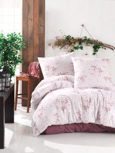 Bettwäsche 200x220 cm. Rosa/Weinrot Blumen Muster, 3 teilig Baumwolle Bettbezug Set mit 2 mal Kopfkissenbezuge 80x80 cm. 100% Baumwolle/Renforcé, Reißverschluss, Model: Este V2