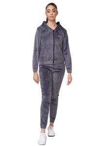 Damen Nicki Sportanzug Soft Gefütterter Velours Trainingsanzug Cozy Hoodie Set Stretch Bund Hose, Farben:Grau, Größe:S-M