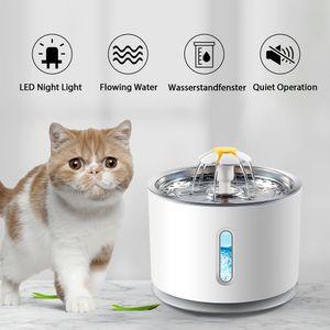 Cherryhome Katzen Trinkbrunnen 2,4 Liter Leise Automatisch Wasserspender FLOWER DELUXE mit LED-Licht  für Haustiere