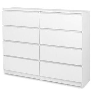 Schöne moderne Kommode mit 8 Schubladen 120 cm Sideboard Schrank - Weiß