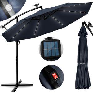 tillvex Alu Ampelschirm Blau LED Solar Ø 300 cm mit Kurbel | Sonnenschirm mit An-/Ausschalter | Gartenschirm UV-Schutz Aluminium | Kurbelschirm mit Ständer Marktschirm wasserdicht