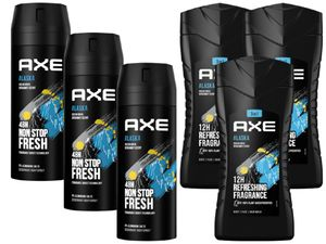 AXE Deo Deospray Deodorant Bodyspray 3in1 Duschgel Shampoo Showergel Alaska 6er Set (3x 150ml Deo & 3x 250ml Duschgel)