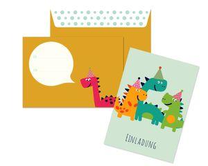 Friendly Fox Einladung Dino - 12 Einladungskarten Dinosaurier zum Kindergeburtstag Junge Mädchen - witzige Einladungskarten Geburtstag - Geburtstagskarte Dino (grau)