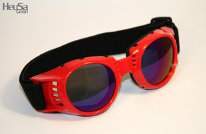 Motorradbrille rot, Rainbow-getönte Gläser