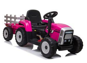 Kinder Bulldog Power Traktor 12V Pink m. Anhänger Kinderfahrzeug Trecker elektrisch Kinderauto rosa