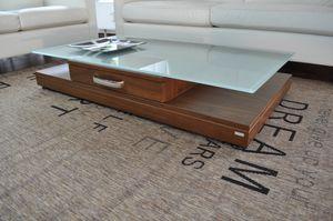 Design Couchtisch Tisch V-470 Nussbaum / Walnuss Milchglas Carl Svensson